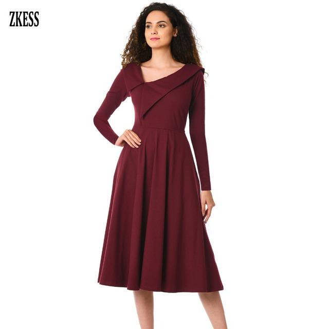 e371cf8e21c Zkess Women Retro Inspired Asymmetric Collar Flared Dress Long Sleeve Party  Stretched A-Line Midi