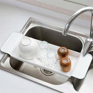 Image 4 - Nova banheira de armazenamento rack banho bandeja prateleira chuveiro banheira ferramentas do banheiro maquiagem organizador toalha plástico pia da cozinha dreno titular