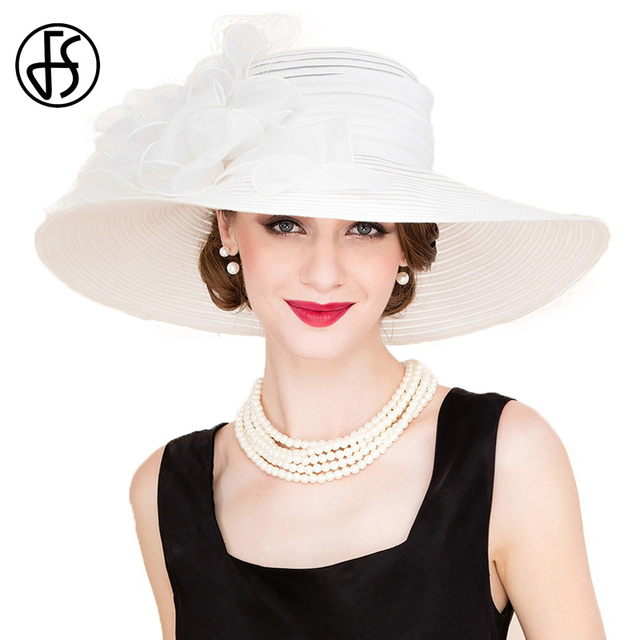 FS Elegant White Church Hats Summer Women Large Brim Organza Hat Black Beach  Fashion Lady Sun Flowers Derby Hat 69853d89ee23