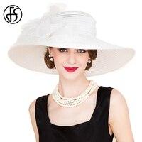FS Elegant White Church Hats Summer Women Large Brim Organza Hat Black Beach Fashion Lady Sun Flowers Derby Hat
