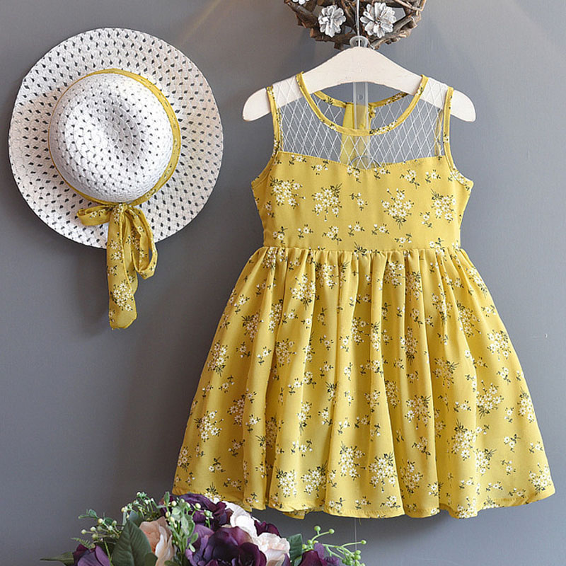 2018 New Summer Girls Dress Fashion Printing Style Girl Clothes Lace Flower Cake Dress+Sunhat 2Pcs Suit For Girls Princess Dress easter gift summer new style cheongsams for little girls chinese dress for children tang suit baby girl princess dresses clothes