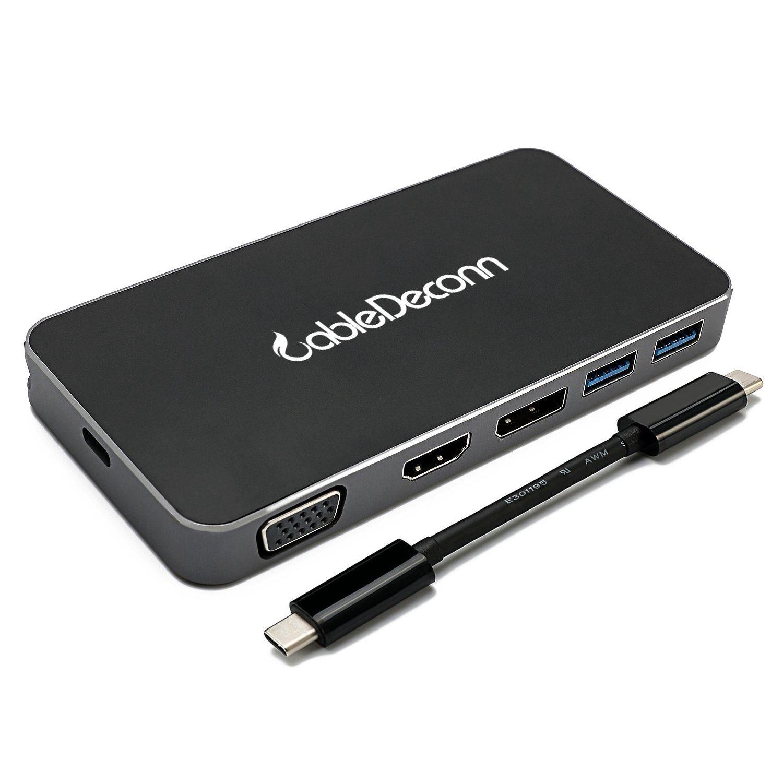 USB-C to Hub,CableDeconn 8 in 1 Digital Multi-port USB-C to HDMI/VGA/Displayport Output USB-C PD PC 2 USB 3.0 Ports Cable Adap адаптер hp display port to usb c n9k78aa