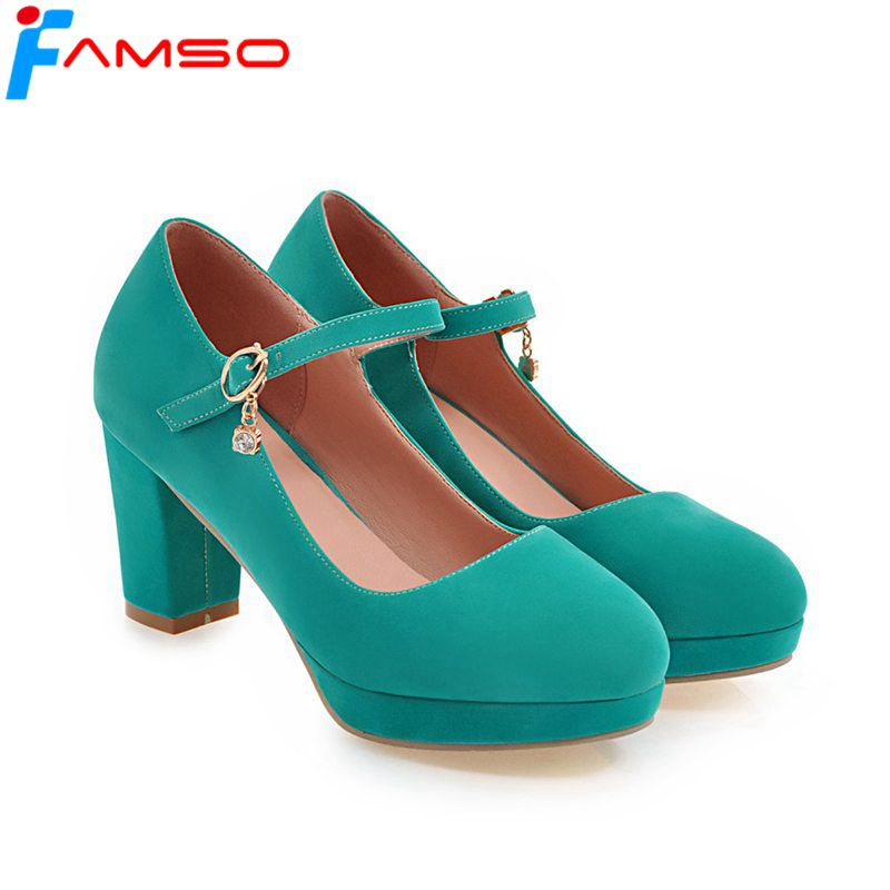 FAMSO Size34-43  2018 New Spring Autumn High Heels Shoes Black red Wedding shoes Round toe Pumps For Women Office Dress Shoe siketu free shipping spring and autumn high heels shoes career sex women shoes wedding shoes g012 nightclub pumps