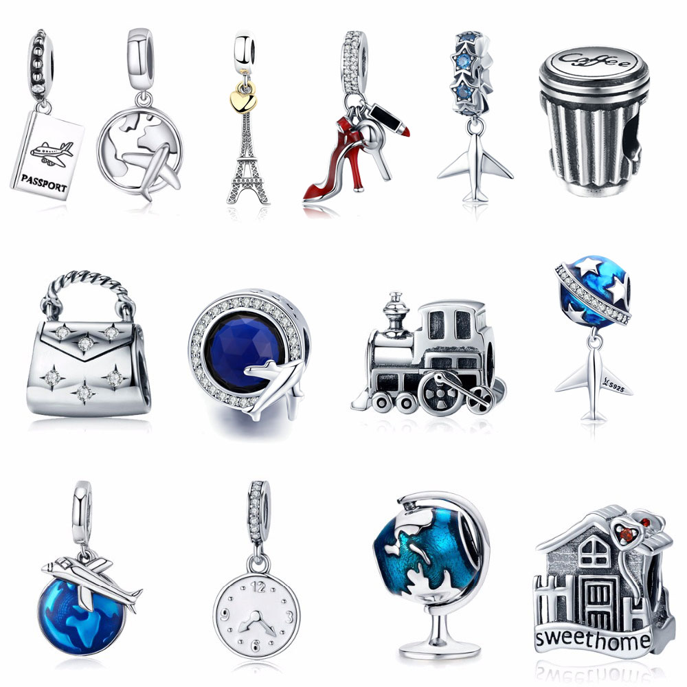 925 Sterling Silver Berloque Family House Eiffel Tower Camera Travel Dream Coffee Cup Shoes Charm Fit Charm Bracelet DIY Jewelry eiffel tower charm bangle