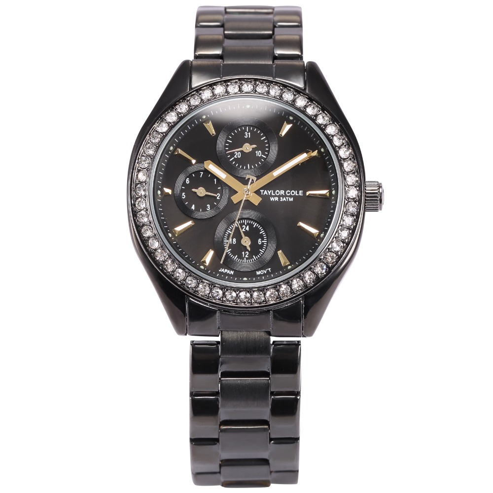 New Brand Taylor Cole Black Full Steel Strap Auto Date Kadn Saat Relogio Rhinestone Bracelet Women Dress Quartz Watch / TC012 new forcummins insite date unlock proramm