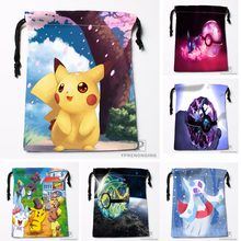 c7d26b72c582 Custom Pokemon Pikachu Drawstring Bags Travel Storage Mini Pouch Swim  Hiking Toy Bag Size 18x22cm