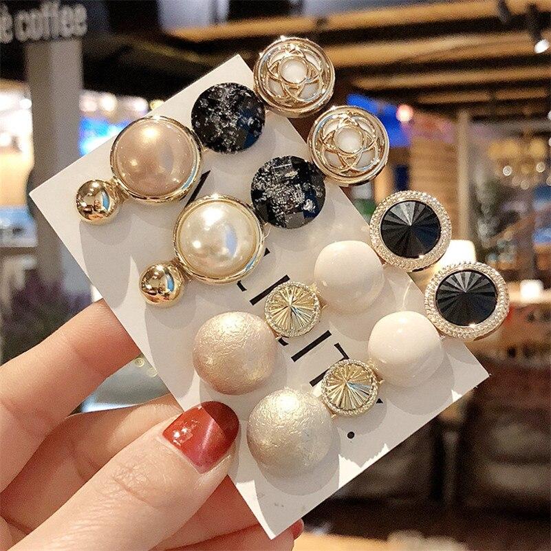 Korean Vintage Imitation Agate Pearls Hairpins Barrettes Simple Bang Clips Hair Clips For Women Girls Handmade Hair Accessories