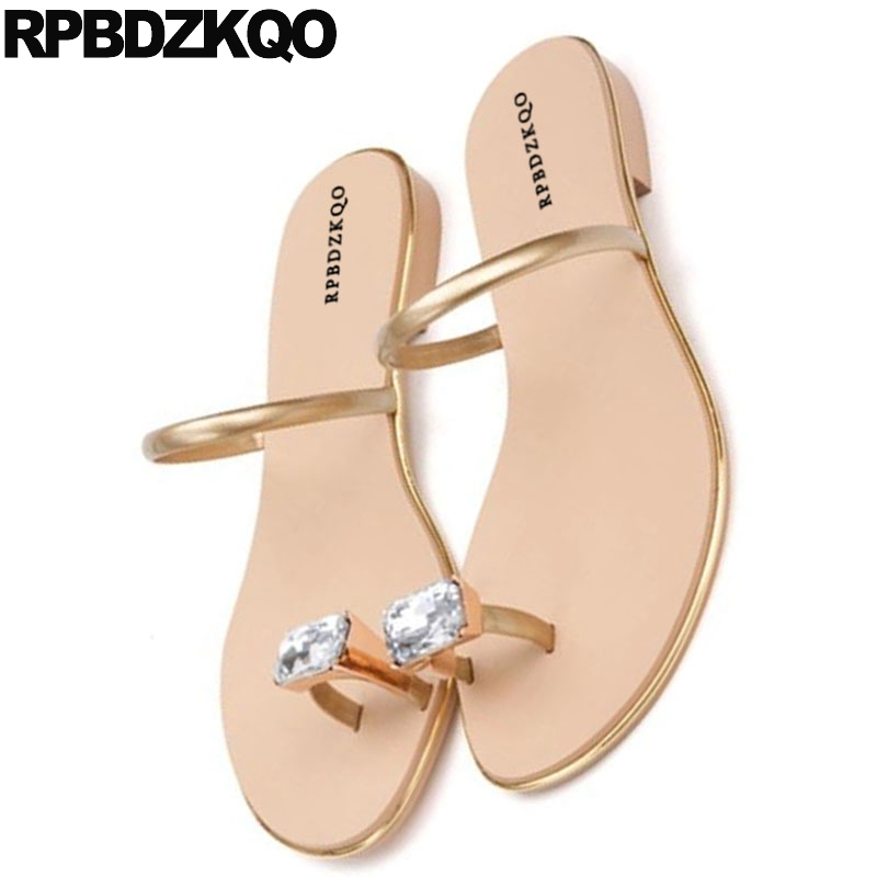6281a0f1afb2d Famous Brand Red Luxury Shoes Women Designer Gold Flat Toe Ring Rhinestone  Jewel Slides Diamond Crystal Lady Summer Sandals-in Women s Sandals from  Shoes on ...