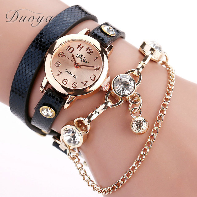 2018 Women Bracelet Watch Hours Ladies Pendant Crystal Dress Quartz Watches Casu