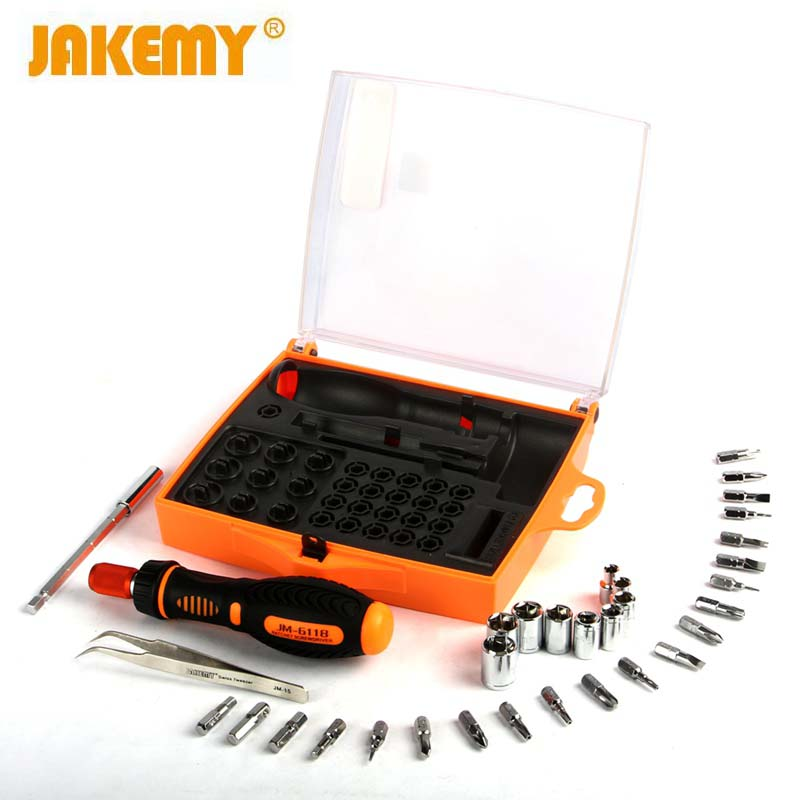 JAKEMY JM-6118 Fix Tool Set Hand Tools Kit Opening Repair Phone Tools Screwdriver Set Computer Diyfix Tools Home Repair Set
