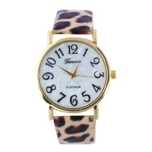 Geneva Leopard Leather strap quartz watch women fashion Casual wrist watch Ladies hour clock wristwatch 2015042113