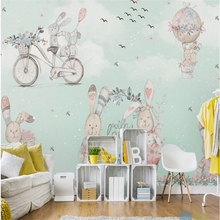 beibehang Large Custom Wallpaper Mural Hot Air Balloon Abstract Bunny Hand Painted Snow Cartoon Kids Wallpaper 3d flooring free shipping 3d outdoor flooring painted cartoons anti skidding thickened flooring mural living walls boy room wallpaper mural