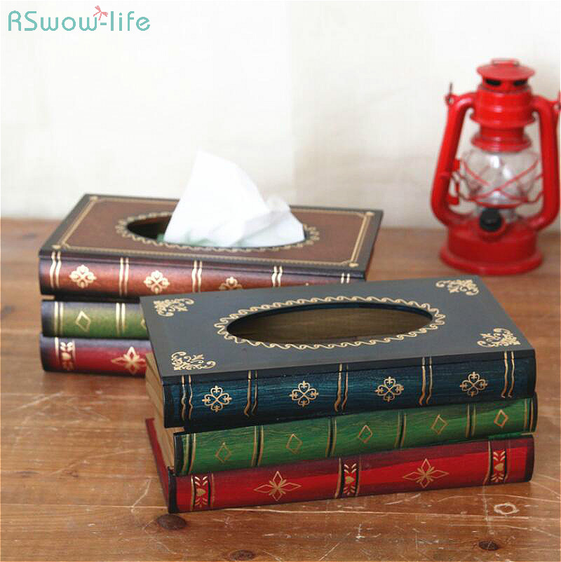 Retro Hand-Painted Tissue Box Paper Towel Boxes Of Retro-European Imitation Books Art Cartons On Dining Room Table Holder