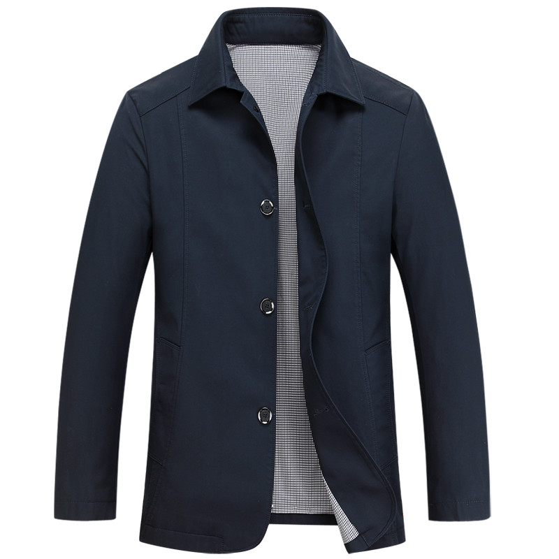 49580e44cde Mu Yuan Yang 2018 Spring New Men Jacket Business Casual Turn down Collar  Single Breasted Solid Color Thin Cotton Men Coats-in Jackets from Men s  Clothing on ...