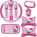 10 pcs/set  interior products sets Wholesale Car headrest pillows for Hello Kitty pattern wheel belt visor gear set