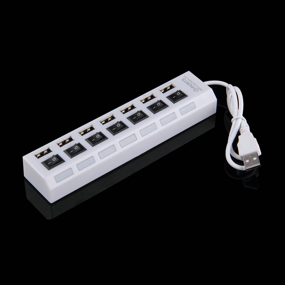 White 7 Ports USB 2.0 High Speed Adapter Hub Power On/Off ...