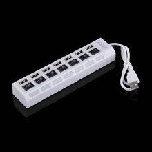 Белый 7 портов USB 2.0 высокоскоростной адаптер концентратор POWER ON/OFF Красный светодиод для портативных ПК Ноутбук C1
