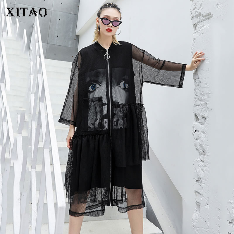 [XITAO] 2019 Summer Korea Fashion New Women Mandarin Collar Three Quarter Sleeve Loose Solid Color Pocket Casual   Trench   ZLL3420