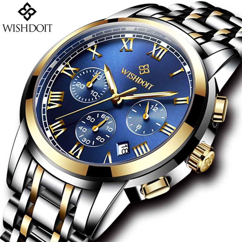 Relogio Masculino WISHDOIT Mens Watches Top Brand Luxury Men  Fashion Business Watch Stainless Steel Waterproof Quartz