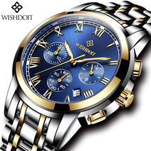Relogio Masculino WISHDOIT Mens Watches Top Brand Luxury Men  Fashion Business Watch Stainless Steel Waterproof Quartz