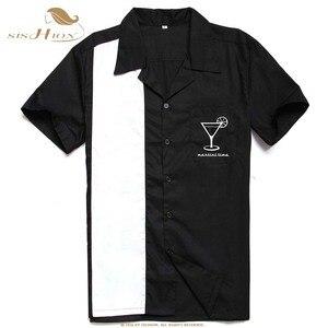 Image 3 - Sishion L 3XL Plus Kích Thước Áo Sơ Mi Nam ST126 Nữ Tay Ngắn Đen Đỏ Rockabilly Bowling, Thời Trang Áo Sơ Mi Nam Camisa Masculina