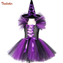 Kids Witch Queen Tutu Tulle Dress With Hat Halloween Cosplay Costume For Girl Fancy Party Children Handmade Dresses