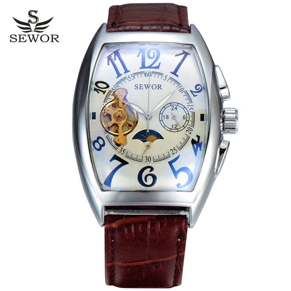 Prix pour 2016 nouveau sewor squelette de la mode d'affaires en cuir hommes mâle horloge automatique mécanique militaire poignet de luxe sport montre cadeau 015