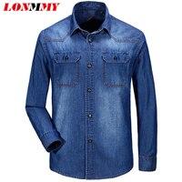 LONMMY Denim shirt men blouses Long sleeves cotton Dress mens shirts casual slim fit camisa masculina mens clothing 2018 Autumn