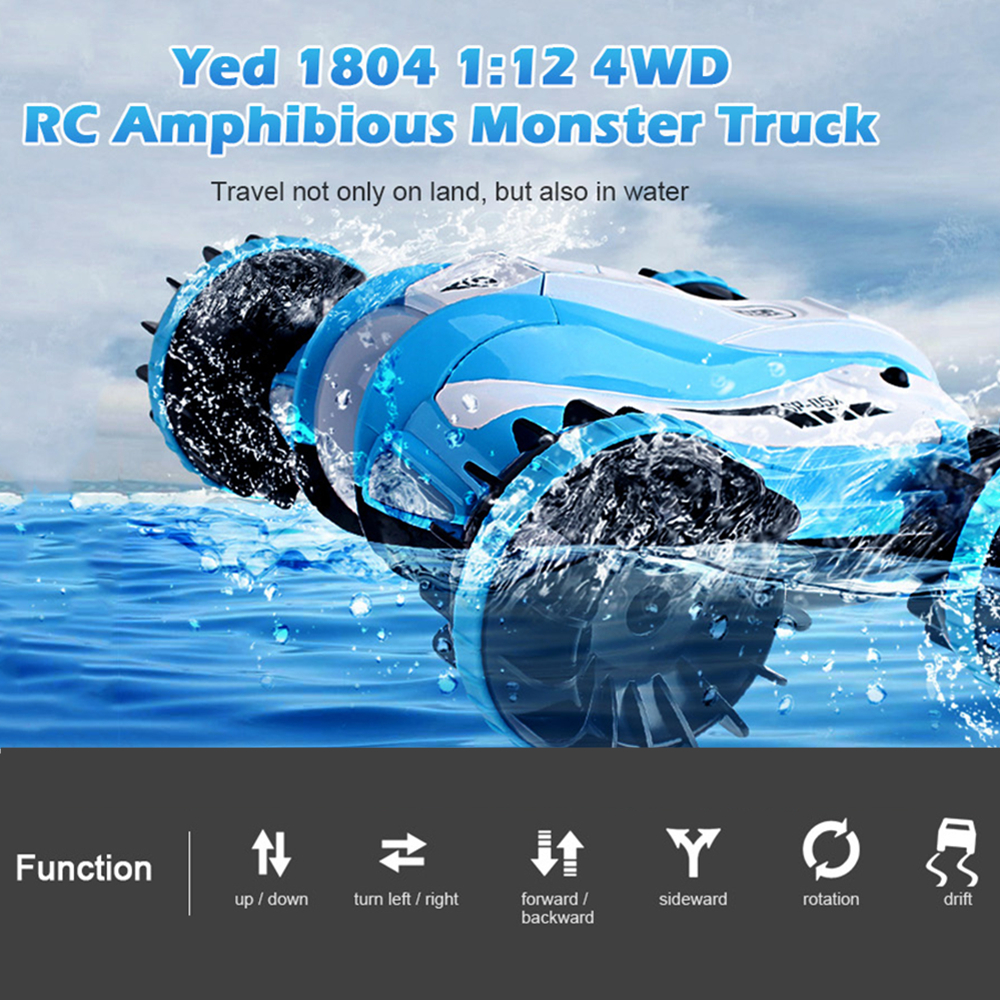 RC Car Yed 1804 1:12 4WD RC Off-Road Amphibious Monster Truck 2.4G Remote Control Toys 12km/H LED Night Light RC Robot Car Gift