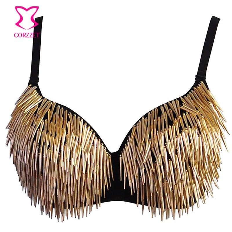 1f113c8d225ad Metallic Rivets Spike Bra Push Up Bralette Sexy Soutien Gorge Steampunk Studded  Bras for Women Burlesque