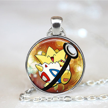 2016 New Fashion Pokemon Anime Jewely Togepi Pokeball Collier Photo Glass Dome Necklaces