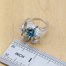 Hyperbole Blue Zircon Stone White CZ 925 Sterling Silver Jewelry Sets For Women Party Earrings/Pendant/Necklace/Rings/Bracelet