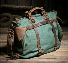 Unisex Retro Neue 2015 Leinwand Leder frauen messenger bags Männer Umhängetasche umhängetasche reisetaschen Wochenende kostenloser versand