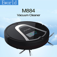 Eworld M884 Multifunction Intelligent Home Robot Mini Vacuum Cleaner With Sweep Vacuum Mop Cleaner LCD Touch