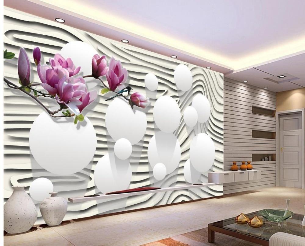 US $14.1 53% OFF|Moderne wohnzimmer tapeten Lila magnolia blumen tapeten  für wohnzimmer Dekoration weißen tapete-in Tapeten aus Heimwerkerbedarf bei  ...