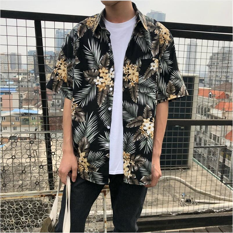 89dbae2f Vintage Floral Hawaii Shirt Casual Couple Summer Hawaiian Shirts Printing  Beach Party Short Sleeve Shirts Clothing A5495