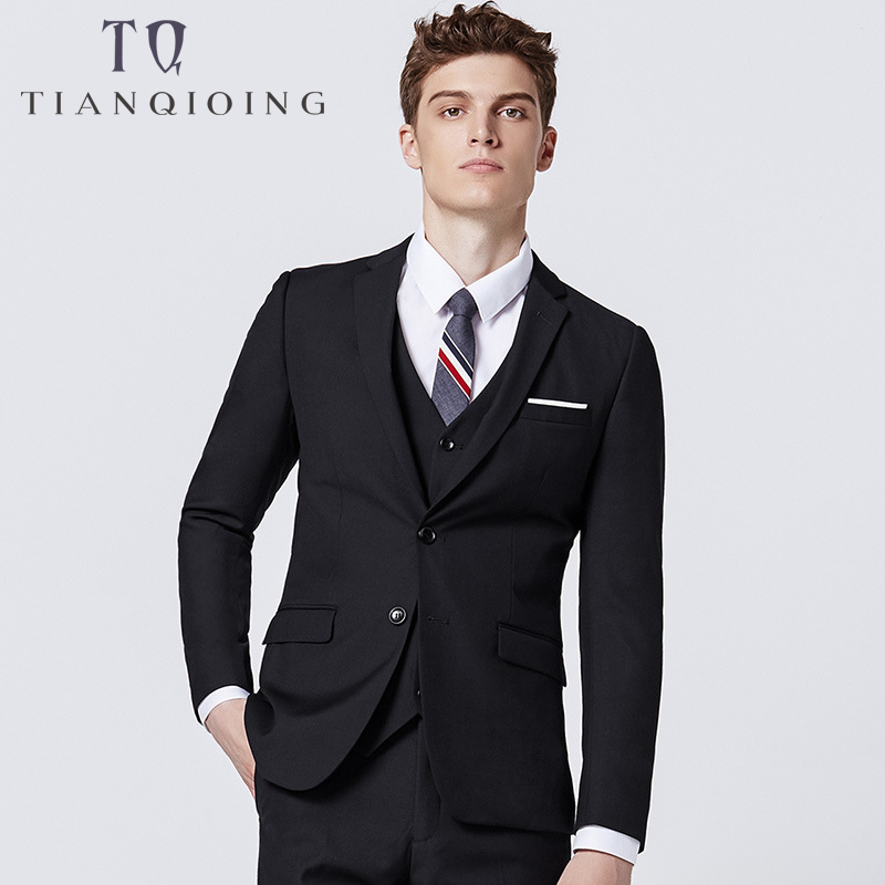 Tailor-made Top Quality Formal Men Suits Wedding Slim Fit Groomsmen Tuxedos 3 Piece Handsome Business Wear(Jacket+Pants+Vest)