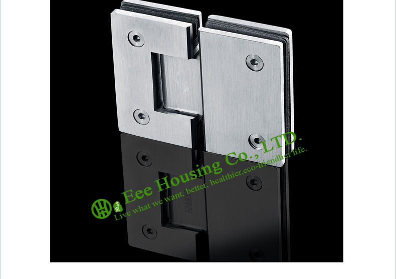Stainless Steel Glass Connector, 180 Degree Shower Door Hinge, Bathroom Glass Door hinge,Satin finished Glass clamp,glass clips - 3