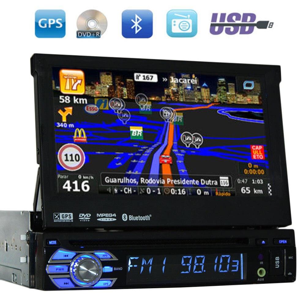 """7 """"1 DIN ЗЦЕ автомобильный dvd плеер GPS навигации Универсальный в тире съемная передняя Панель Авто Радио аудио стерео без ТВ Функция"""