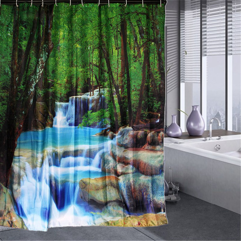 2 Sizes 3D Waterfalls Nature Scenery Shower Curtain Bathroom Products  Fabric Shower Curtain With 12 Hooks