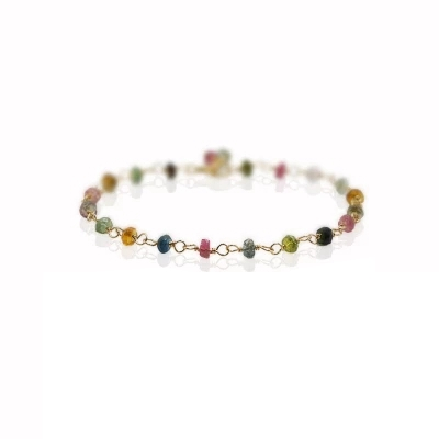Natural Stone Rainbow Tourmaline 925 sterling silver Handmade Knitting Shining Bracelet 7-8