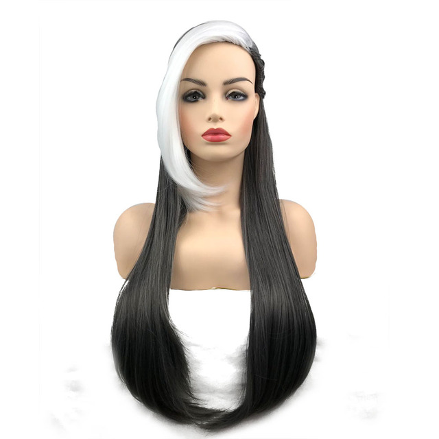StrongBeauty Batman Jason Todd Long Straight Black Grey with White Bang 3 Braid Cosplay Wig