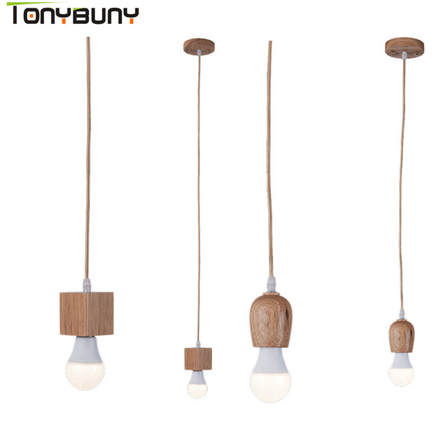 Contemporary Led Pendent Lights Wood E27 Holder With 7w 9w 5w 12w Lamp Bulb Pendant