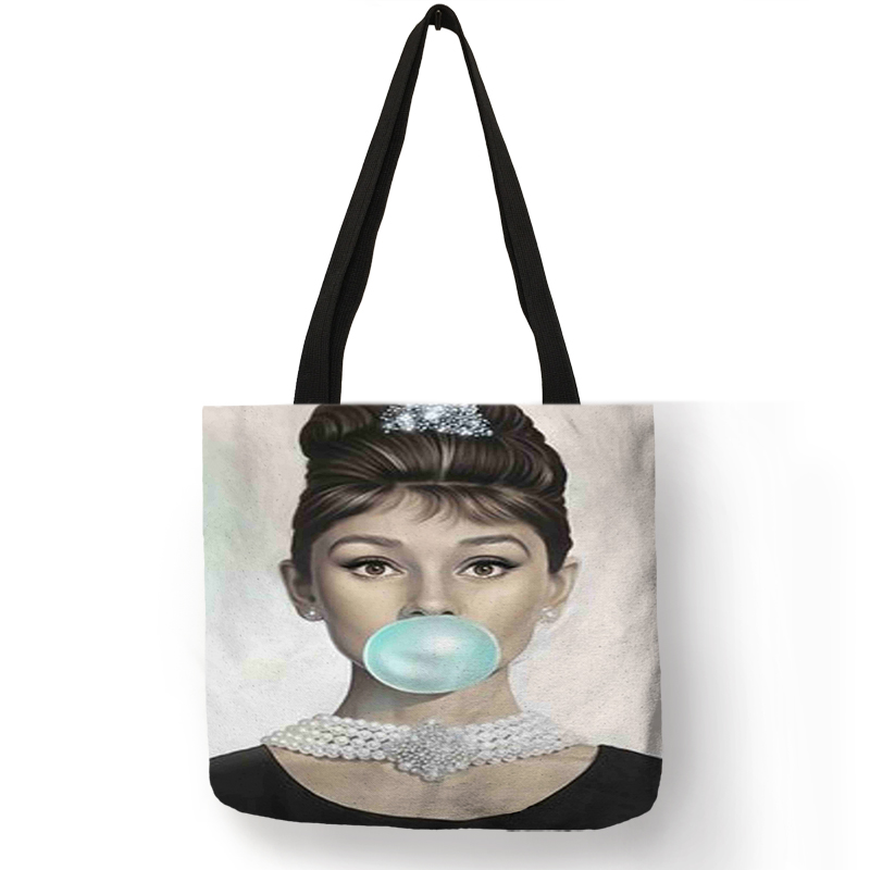 Personalized Folding Reusable Ping Tote Bag Classic Audrey Hepburn Quotes Print Handbag Casual Traveling Shoulder Bags In Storage From Home