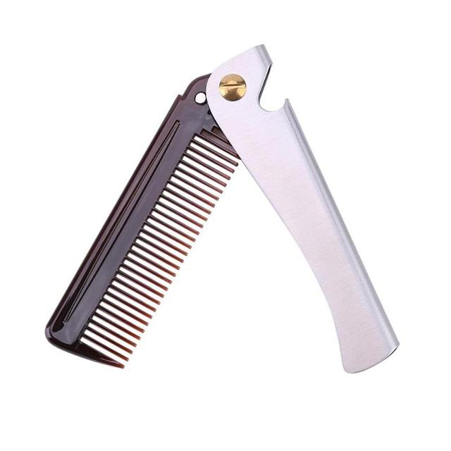 1pc Stainless Steel Beard Comb Metal Plastic Folding Bottle Opener Wide Teeth Comb for Men Hair Beard Trim Tools hair brush