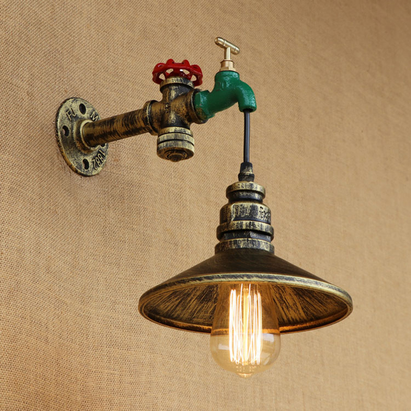 Fashion vintage Loft metal Water pipe wall lamp with switch iron lampshade for living room bedroom restaurant bar E27 110v 240v