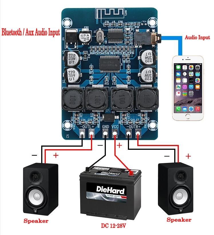 Цифровой усилитель мощности, стерео аудио, Bluetooth, 2x45 Вт, 12 В, 24 В, Плата усилителя, TPA3118