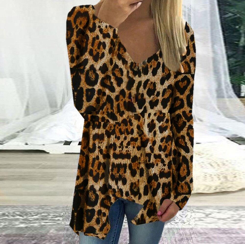 2019 Spring Autumn Women Long Sleeve Leopard Print V-neck Irregular Hem Blouse Pullover Tops Shirt Korea Style Women Blouse