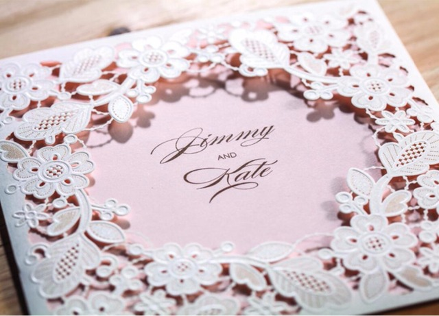 Pink laser cut invitation cards for wedding party, Customized