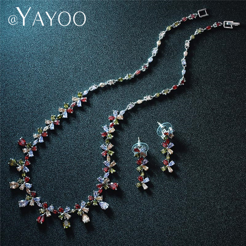 AYAYOO Jewelry Sets Women Statement Choker Necklace African Beads Jewelry Set Flower Wedding Jewelry Sets for Brides Jewellery
